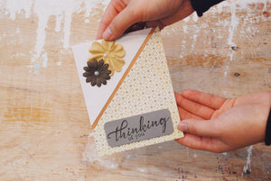 Infinity | Brown & Beige Variant | Handmade General Greeting Card | brown square pattern paper covering 3/4ths of card diagonally, brown & beige flowers in top-left corner | thinking of you sentiment | Thoughtfully Handmade