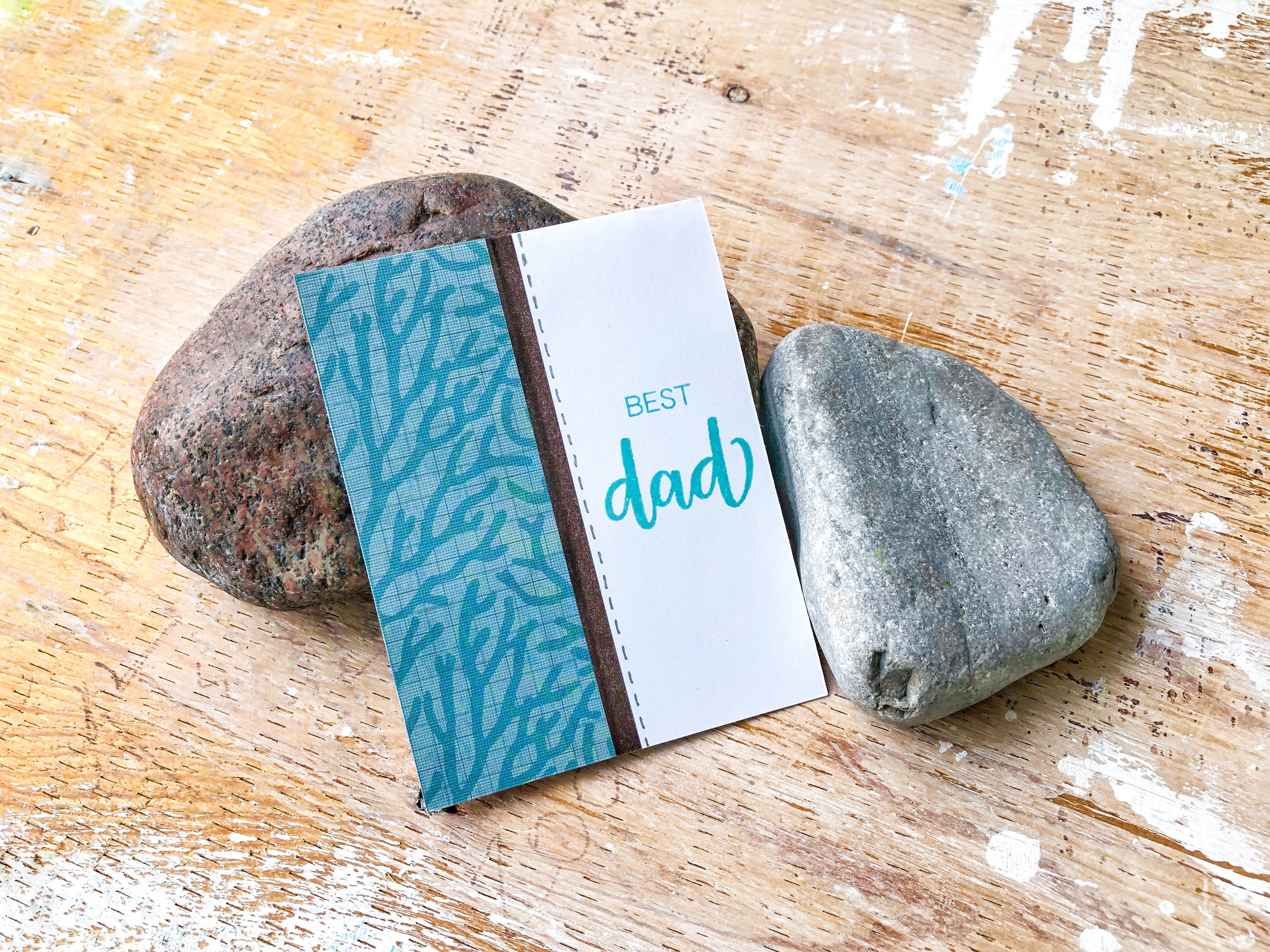 Man Crush | handmade Father's Day card | panel of patterned paper to left followed by strip of brown washi tape and best dad sentiment | Under the Sea variant | Thoughtfully Handmade