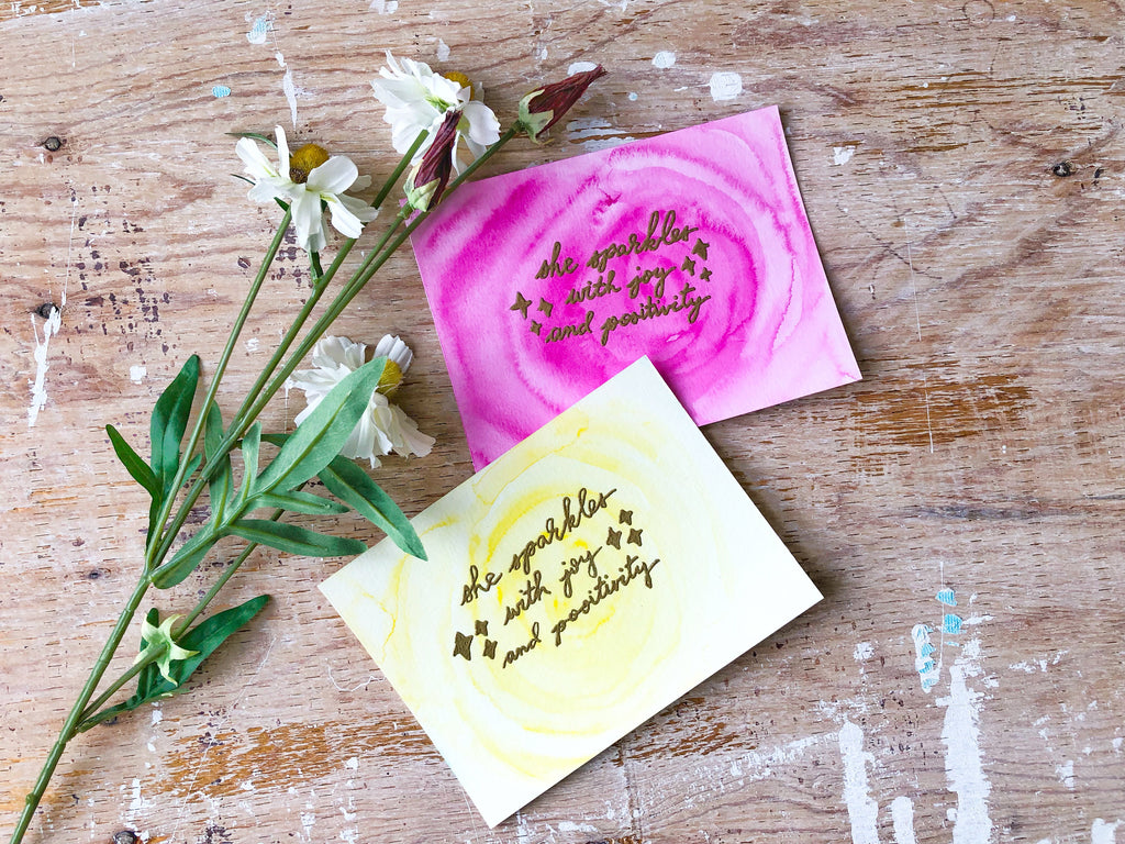 Mental Switch | handmade watercolour positivity & self-love card to ignite positivity within | Thoughtfully Handmade & Positive Chick
