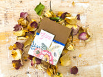Spring | handmade thank you card | dark brown cardbase with pink floral background with blue strip of washi tape and small banner on top with pearl | thank you sentiment | Thoughtfully Handmade