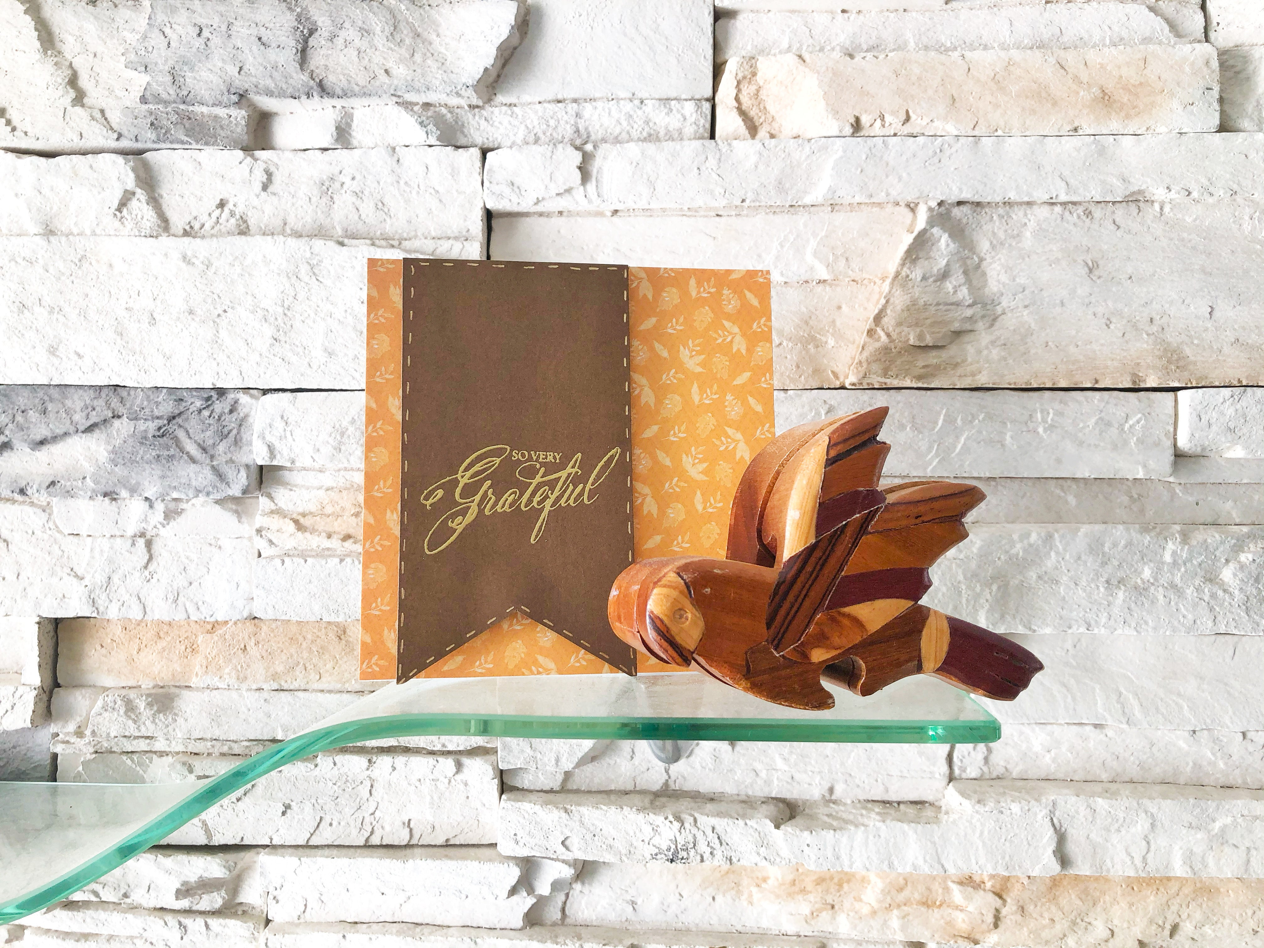 Warm Gratitude | handmade thank you card | orange leaves background with dark brown banner on left side | so very grateful sentiment | Thoughtfully Handmade