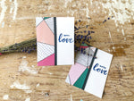 When Healing Finds You | Handmade positivity self-love card | Geometric pink, peach, teal, black & white geometric triangle pattern panel on left, strip of washi tape covering seam, sentiment on right | with love sentiment | Thoughtfully Handmade