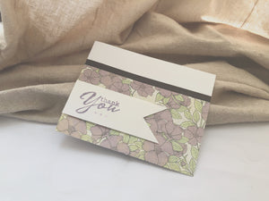 Wist | Purple Variant | Handmade Thank You Cards | Set of 3 | purple floral pattern paper with brown washi tape seam | white banner on left side with thank you sentiment | Thoughtfully Handmade
