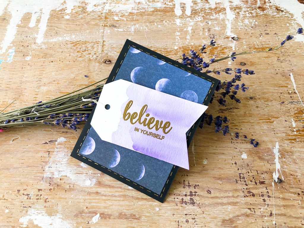 You Got This | Handmade positivity self-love card | navy & violet moon phases background, violet tag with sentiment on it | believe in yourself sentiment | Thoughtfully Handmade