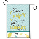 "Tell it like it is!  Whimsical flag with the saying ""Queen Of The Camper And King Of The Campsite Live Here""."