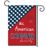 "Red, White and Blue with the saying ""All American Camping Family"""