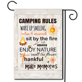 "A simple illustration with a board style background and the saying ""Camping Rules""."