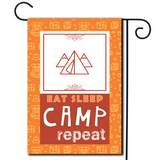 "A bright and cheerful illustration with the saying ""Eat Sleep Camp Repeat""."