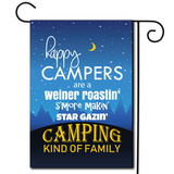 "Are you looking for rv camping flags with a great camping meme?  Cute illustration of a star filled night sky with the saying ""Happy Campers Are A Weiner Roastin', S'more Makin', Star Gazin' Camping Kind Of Family""."