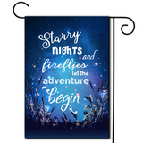 "How many great memories have started with this scene?  Are you looking for rv camping flags with a great camping meme?  Beautiful evening scene and a great saying ""Starry Nights And Fireflies Let The Adventure Begin""."