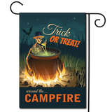 "A playful illustration  of a boiling kettle with a skeleton, campfire and bat with the saying ""Trick Or Treat Around The Campfire""."