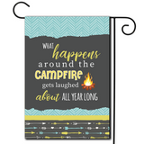"How True, How True!  Are you looking for rv camping flags with a great camping meme?  Cute illustration with the saying ""What Happens Around The Campfire Gets Laughed About All Year Long""."