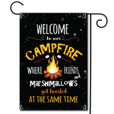 "A simple illustration with the saying ""Welcome To Our Campfire Where Friends And Marshmallows Get Toasted At The Same Time""."