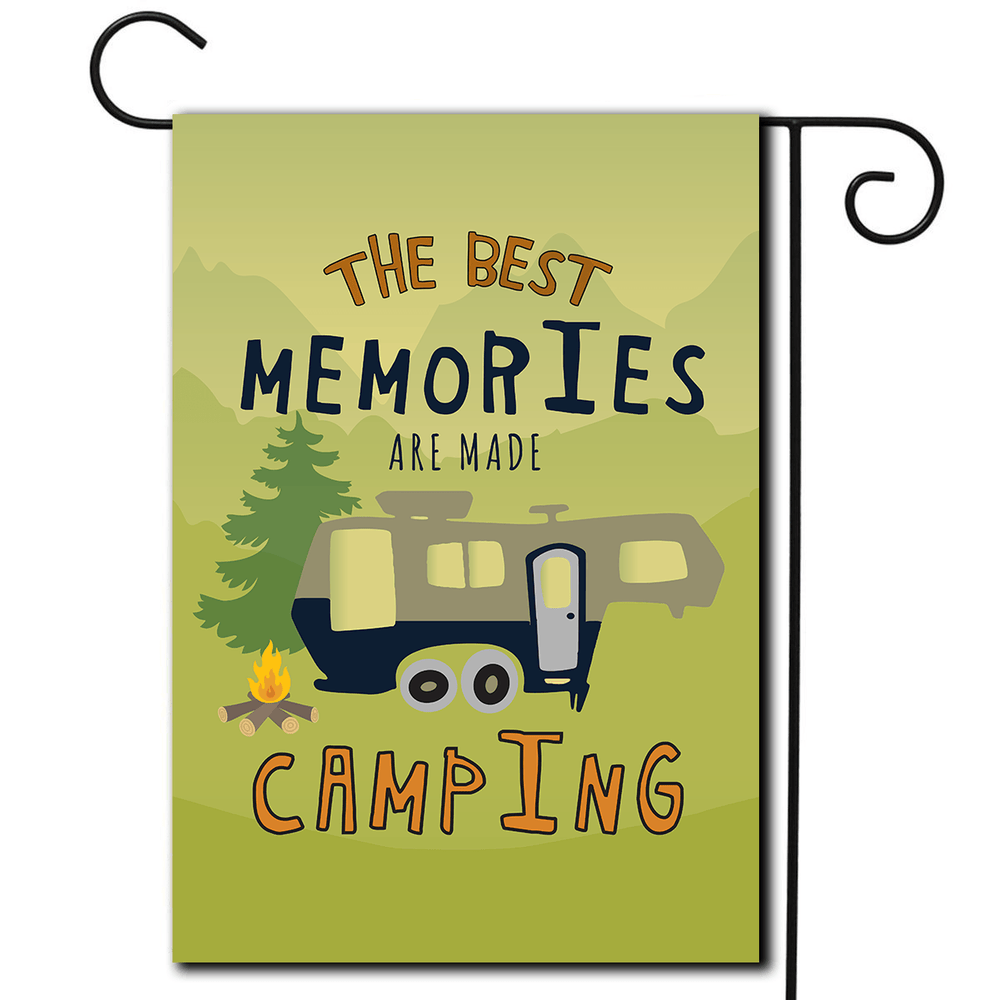 "RV Garden Flag 5th Wheel ""The Best Memories Are Made Camping"""