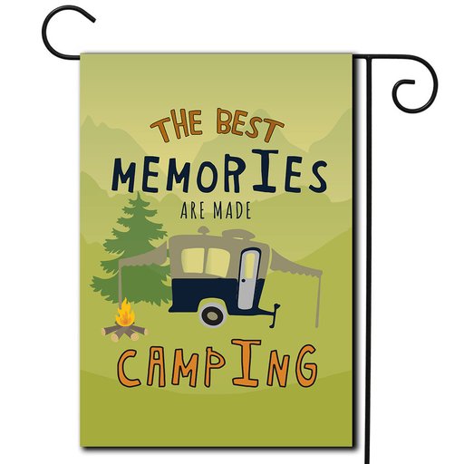 "RV Campsite Flag Pop Up ""The Best Memories Are Made Camping"""