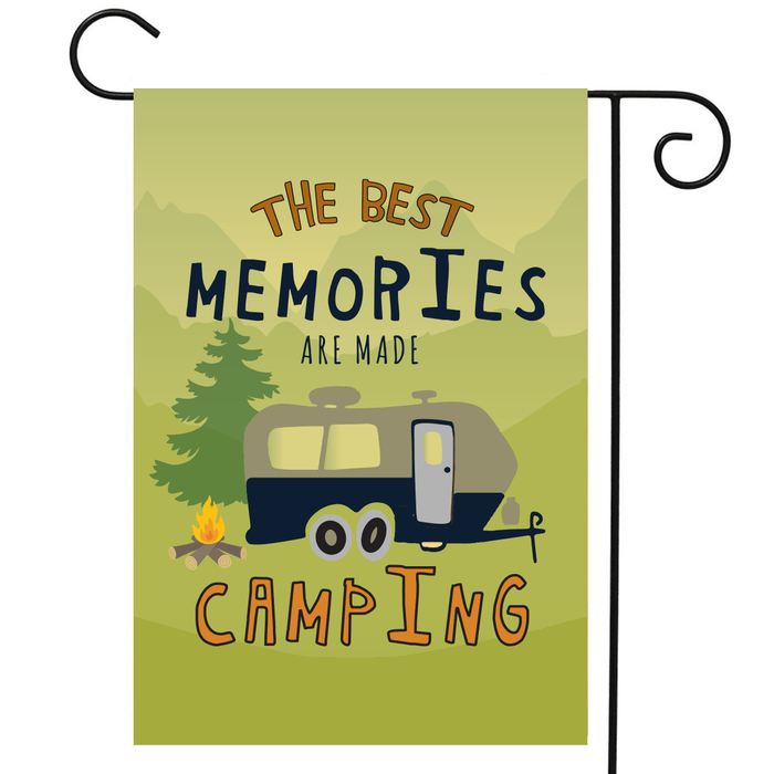"RV Camping Flag Travel Trailer ""The Best Memories Are Made Camping"""