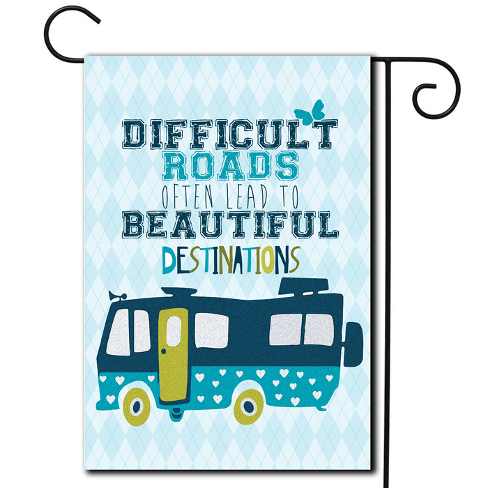 "RV Campsite Flag Motorhome ""Difficult Roads"""