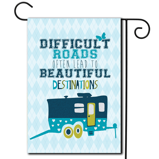 "RV Yard Flag Toy Hauler ""Difficult Roads"""