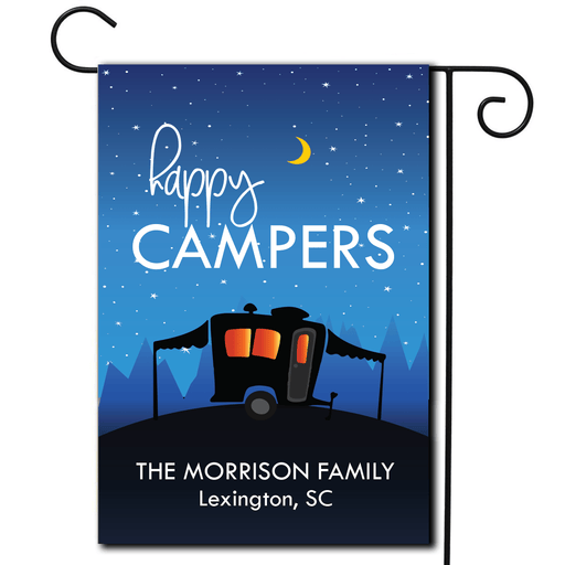"Personalized RV Camping Flag ""Happy Campers"""