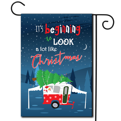 "RV Outdoor Flag Pop Up ""It's Beginning To Look A Lot Like Christmas"""