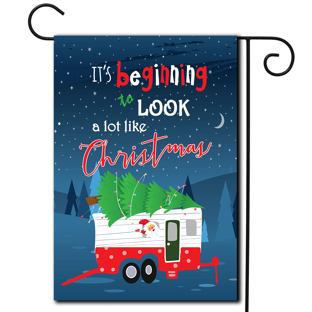 "RV Yard Flag Toy Hauler ""It's Beginning To Look A Lot Like Christmas"""