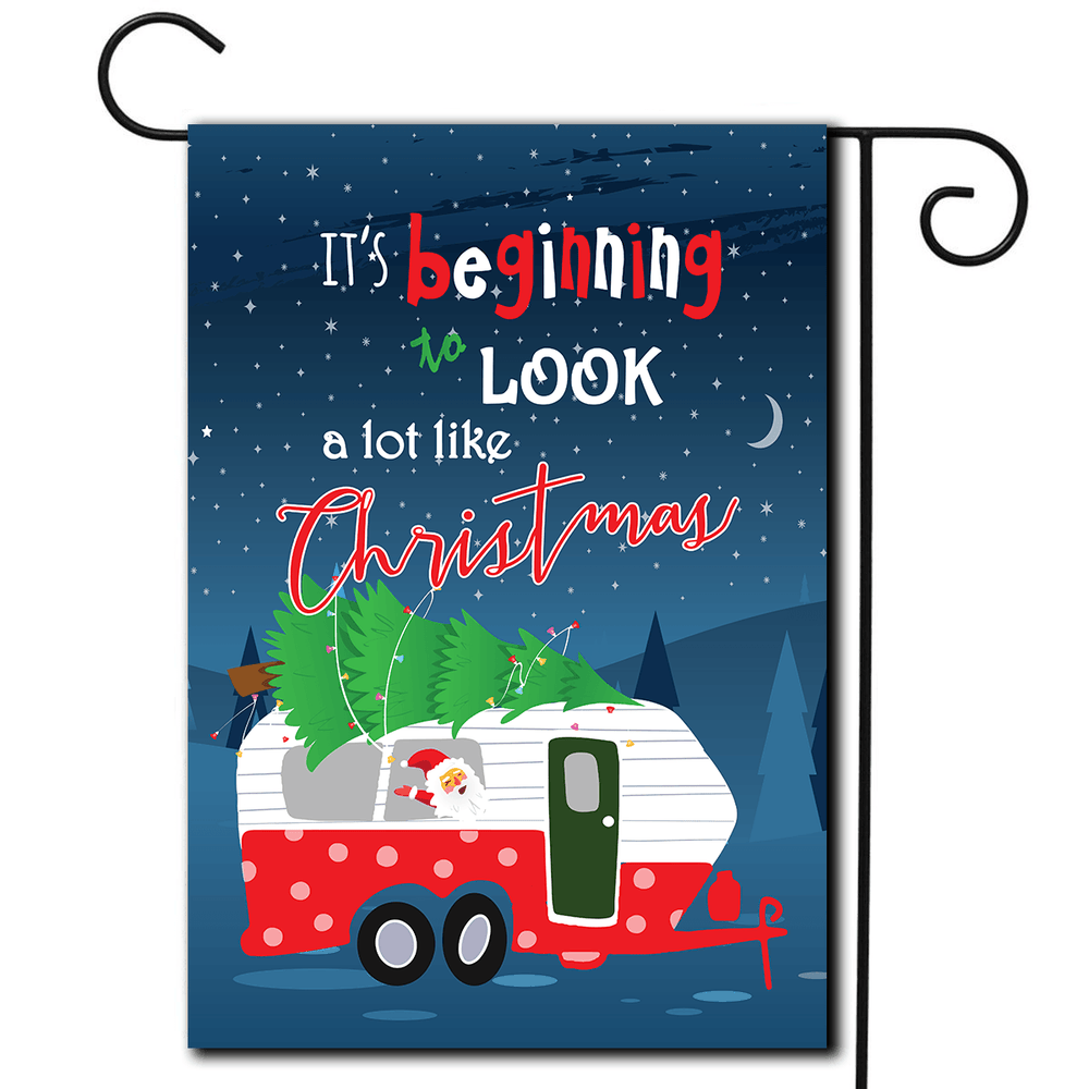 "RV Yard Flag Travel Trailer ""It's Beginning To Look A Lot Like Christmas"""