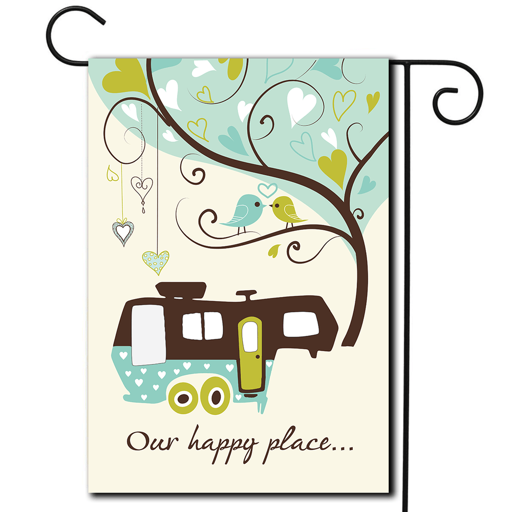 "RV Outdoor Flag 5th Wheel ""Our Happy Place"""