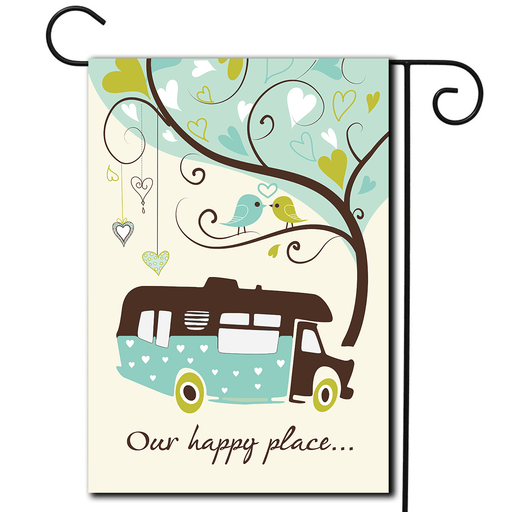 "RV Outdoor Flag Class C ""Our Happy Place"""