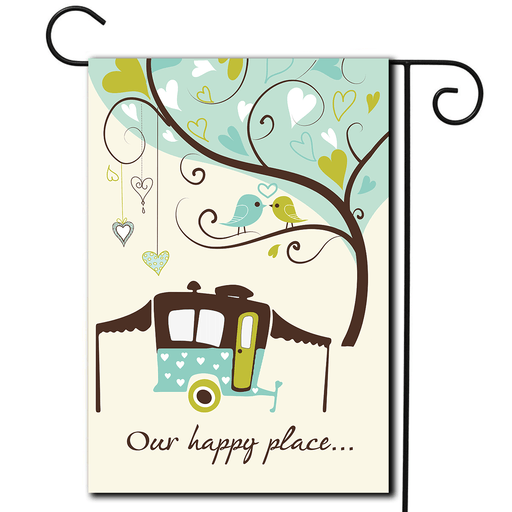 "RV Decorative Flag Pop Up ""Our Happy Place"""