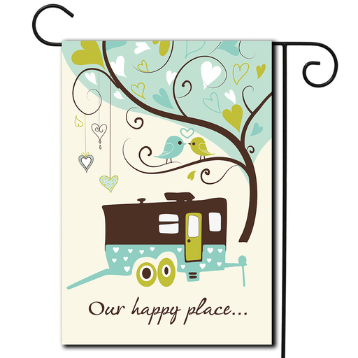 "RV Camping Flag Toy Hauler ""Our Happy Place"""