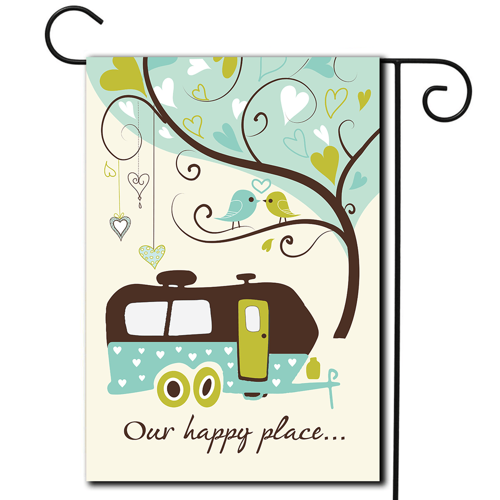 "RV Garden Flag Travel Trailer ""Our Happy Place"""