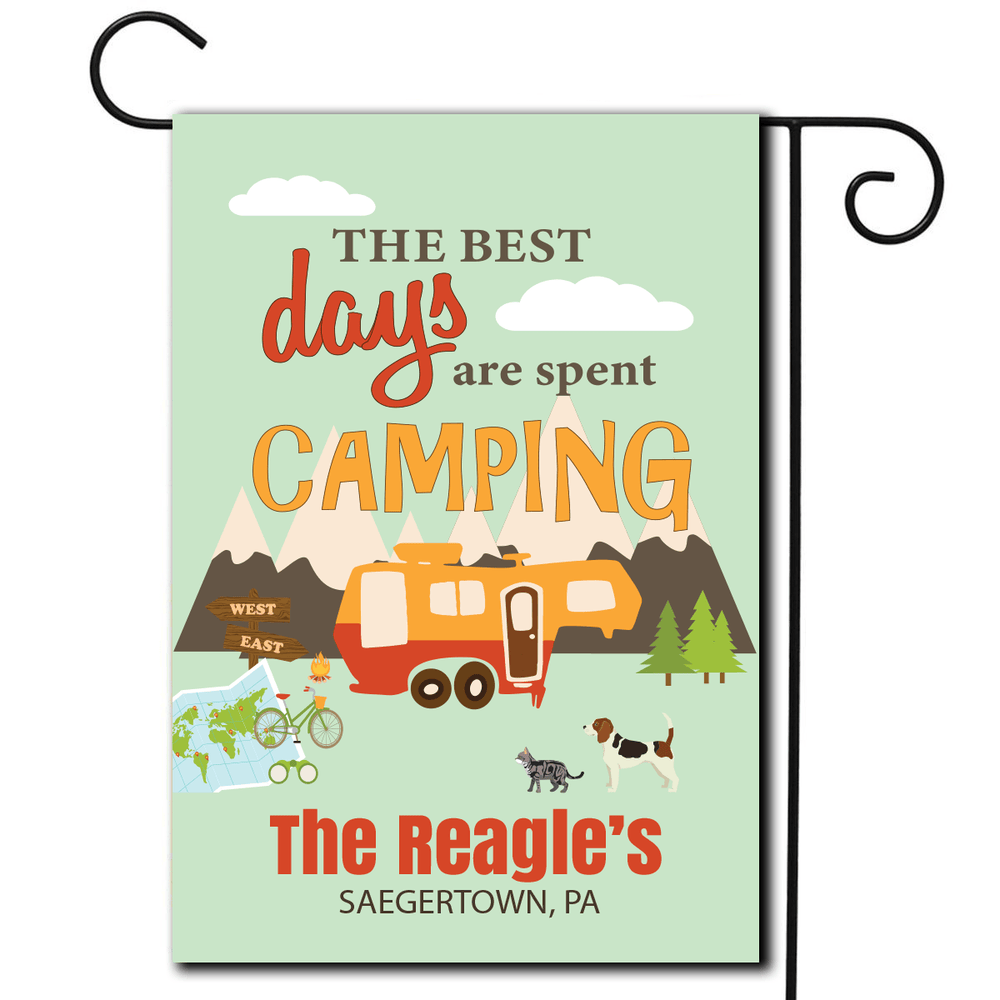 "Personalized RV Pet Flag ""The Best Days Are Spent Camping"""