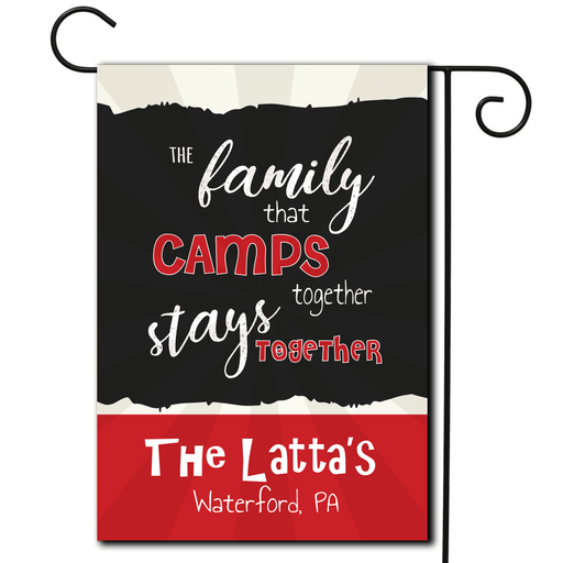"Personalized RV Camping Flag ""The Family That Camps Together Stays Together"""
