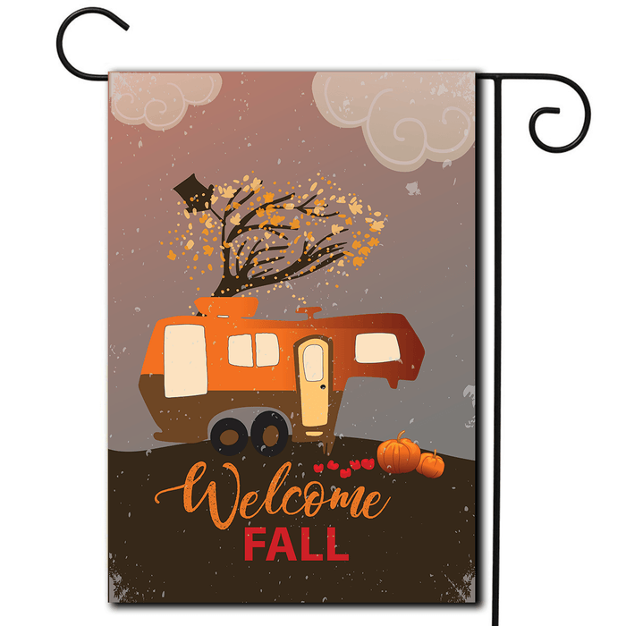 "RV Camping Flag 5th Wheel ""Welcome Fall"""