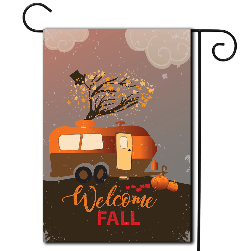 "RV Camping Flag Travel Trailer ""Welcome Fall"""