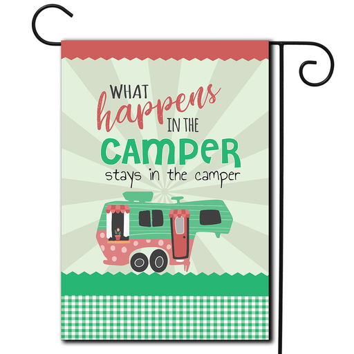 "RV Camping Flag 5th Wheel ""What Happens In The Camper Stays In The Camper"""