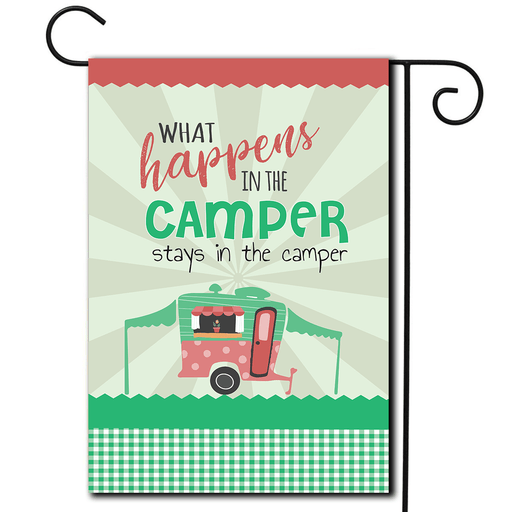 "RV Decorative Flag Pop Up ""What Happens In The Camper Stays In The Camper"""