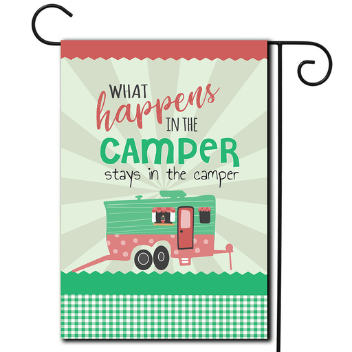 "RV Campsite Flag Toy Hauler ""What Happens In The Camper Stays In The Camper"""