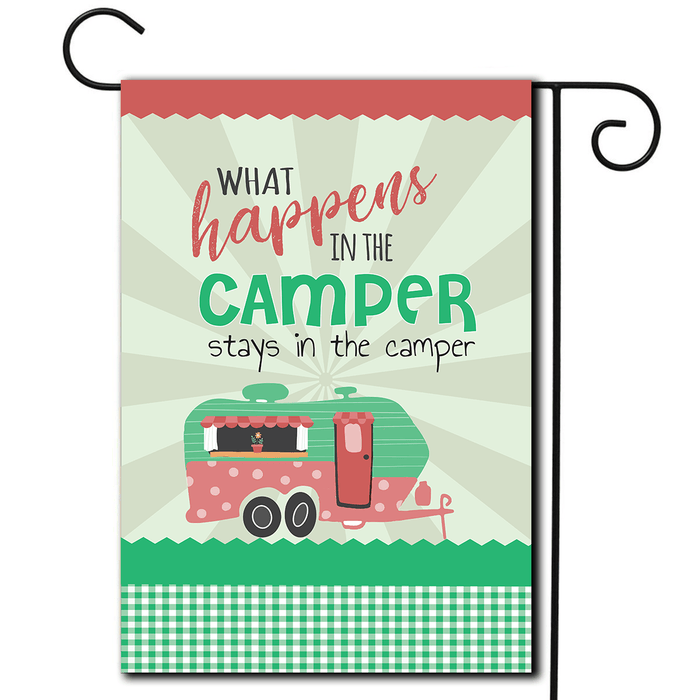 "RV Camping Flag Travel Trailer ""What Happens In The Camper Stays In The Camper"""
