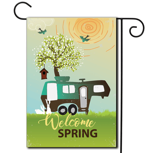"Garden Flag 5th Wheel ""Welcome Spring"""
