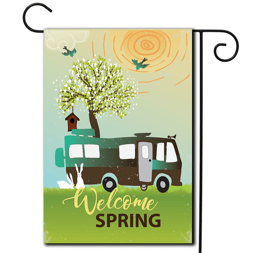 "Garden Flag Motorhome ""Welcome Spring"""