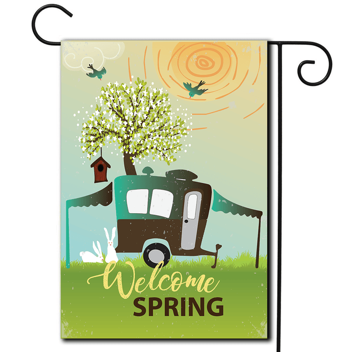 "Garden Flag Pop Up ""Welcome Spring"""