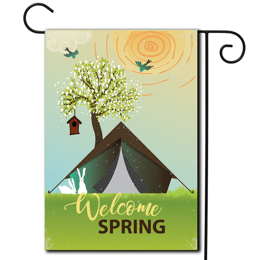 "Garden Flag Tent ""Welcome Spring"""