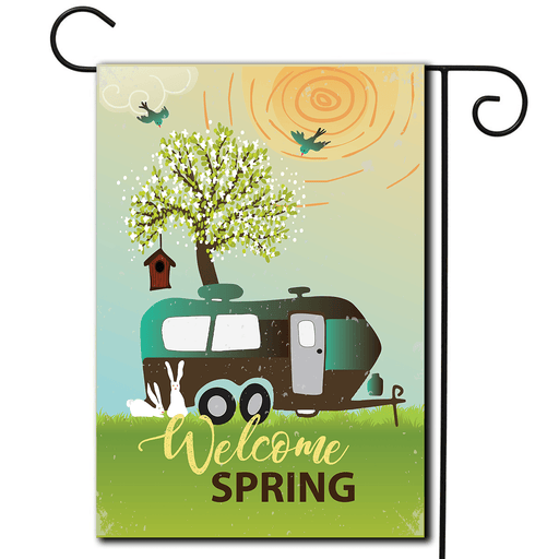 "Garden Flag Travel Trailer ""Welcome Spring"""