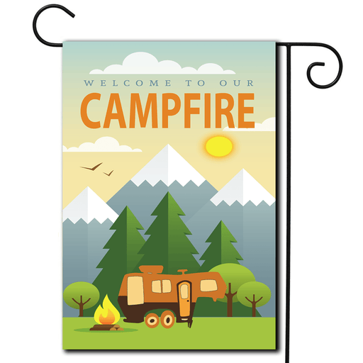 "RV Campsite Flag 5th Wheel ""Welcome To Our Campfire"""