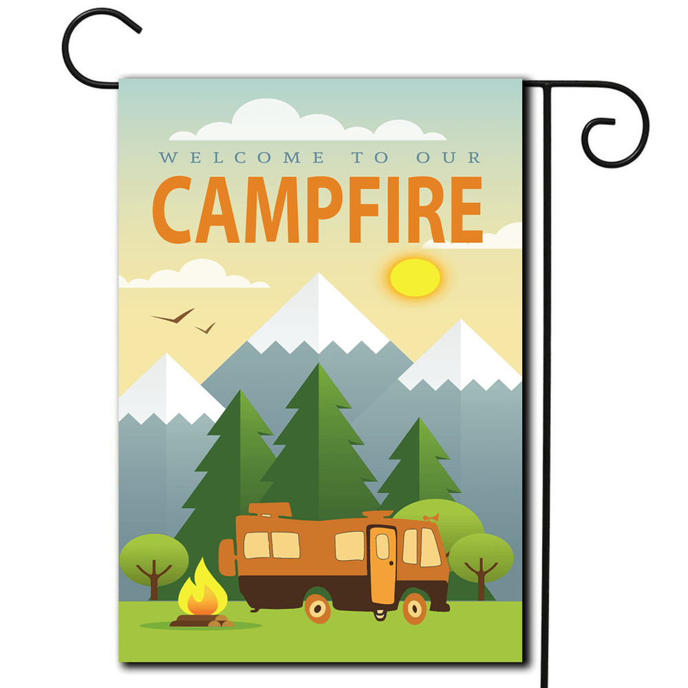 "RV Camping Flag Motorhome ""Welcome To Our Campfire"""