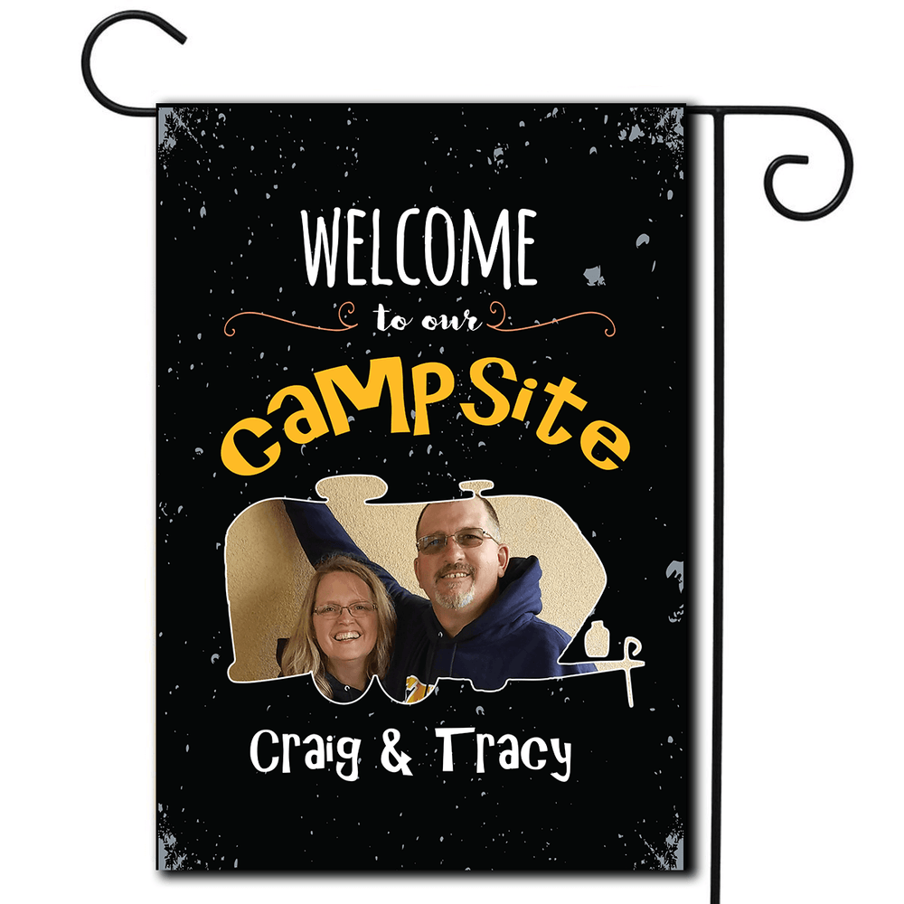 "Personalized RV Camping Photo Flag ""Welcome To Our Campsite"""