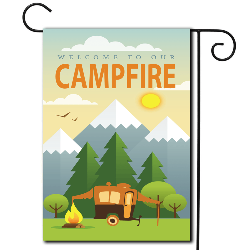 "RV Yard Flag Pop Up ""Welcome To Our Campfire"""