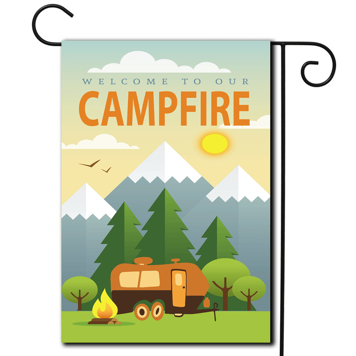 "RV Yard Flag Travel Trailer ""Welcome To Our Campfire"""