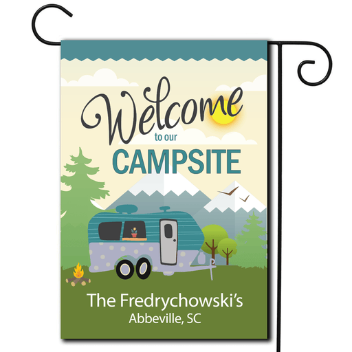"Personalized RV Camping Outdoor Flag ""Welcome To Our Campsite"""